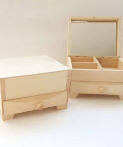 Cutie bijuterii cu sertar și oglindă hTR326