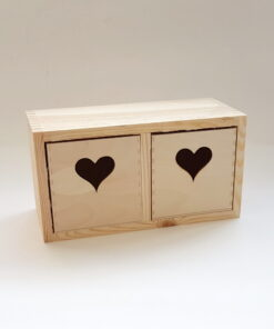 Cutie din lemn cu sertar inimă