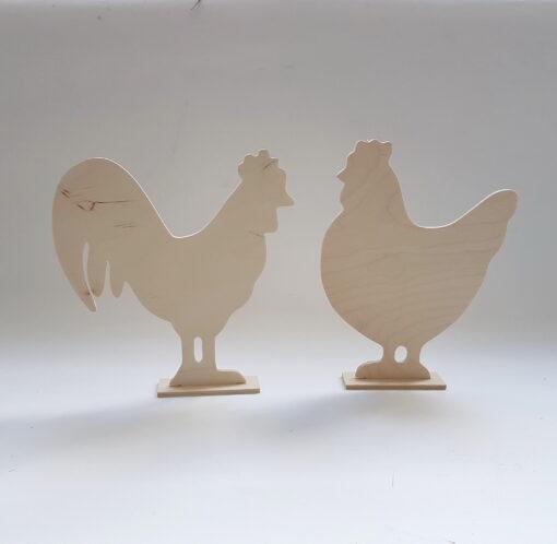 Găină&cocoș din lemn pe stand