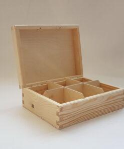 Cutie lemn natur ceai 6 compartimente