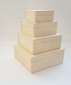 set 4 cutii lemn natur