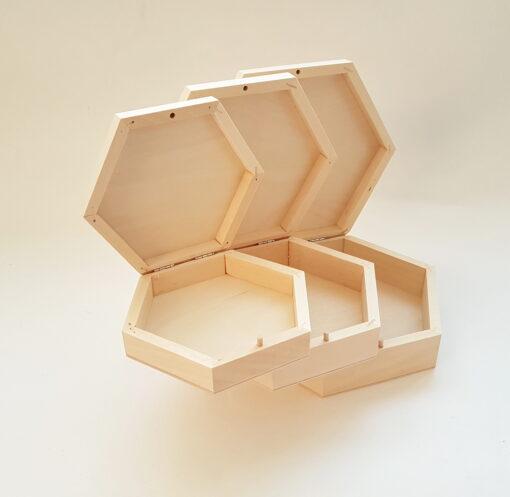 Set 3 cutii lemn formă hexagonală blank