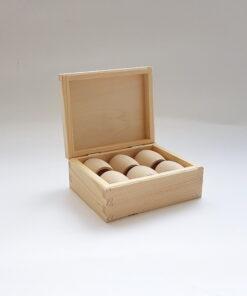 Cutie din lemn suport 6 inele șervețele de masă