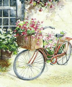 Șervetel decoupage bicicleta cu flori