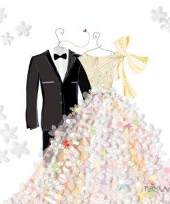 Servetel nunta pentru mire si mireasa Bride & Groom