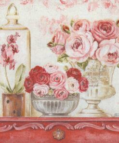 Servetel-decoupage-buchet-roz