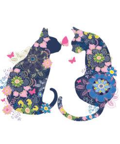 Servetel floral pisici cats