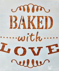 Șablon – baked whit love – 20×20 cm