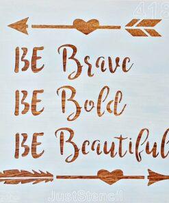 Șablon – be breave – be beautiful – 20×20 cm