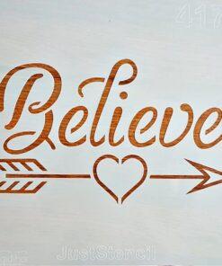 Șablon – believe – crede – 30×30 cm