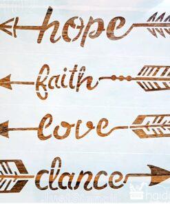 Șablon – hope faith love dance – 30×30 cm - cod 4102