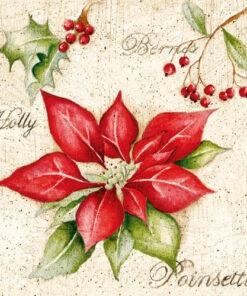 Șervețel - Poinsettia - floarea Crăciunului - 33x33 cm