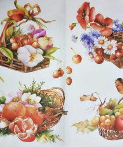 Hârtie de orez DECOMANIA – coș cu bunătăți – 35×50 cm