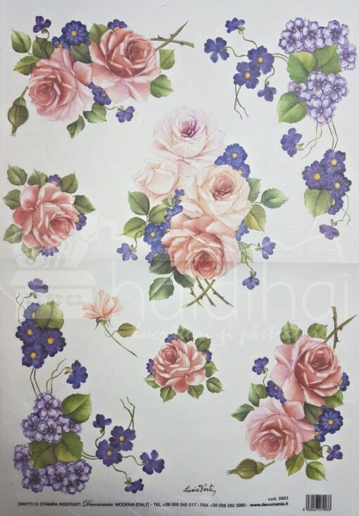 Hârtie de orez DECOMANIA – trandafiri – 35X50 cm