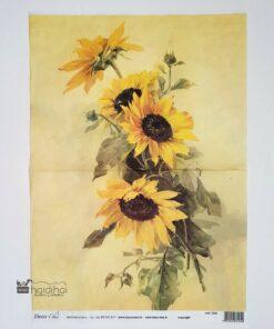 Hârtie de orez - DECOMANIA - motiv floral - 35x50 cm - cod 5340
