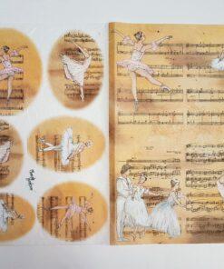 Hârtie de orez - balet&music - 35x50 cm - cod 5041