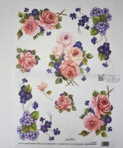 Hârtie de orez - motiv floral - 35x50 cm - cod 5003 haidihai