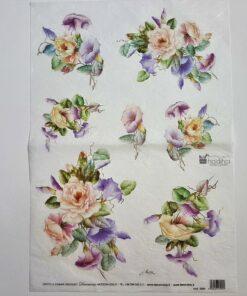 Hârtie de orez - motiv floral - 35x50 cm - cod 5005