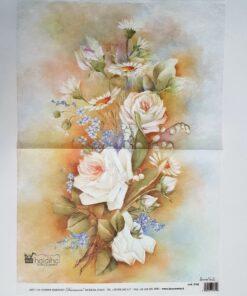 Hârtie de orez - motiv floral - 35x50 cm - cod 5192