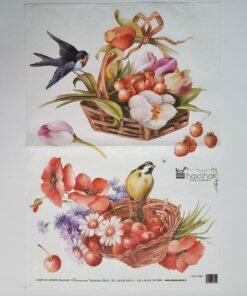 Hârtie de orez - motiv floral - 35x50 cm - cod 5194 haidihai