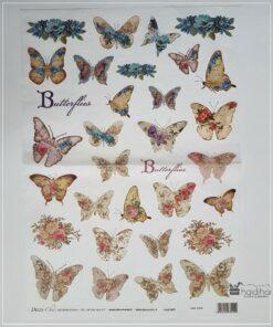Hârtie de orez DECOMANIA - motiv fluturi - 35x50 cm - cod 5376