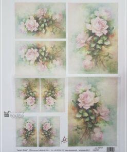 Hârtie de orez DECOMANIA - motiv floral - 35x50 cm - cod AM7727