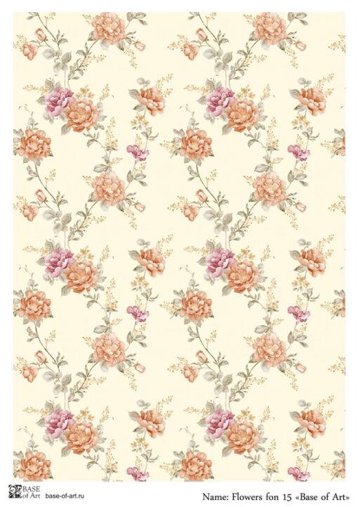Hârtie decoupage - Flowers fon 15