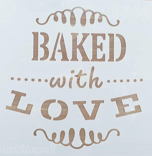 Șablon - baked whit love - 20x20 cm 1