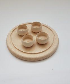 Tavă din lemn cu suport pentru lumânări
