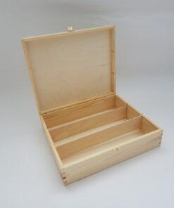 Cutie din lemn pentru sticle de vin-pahare - 3 compartimente.