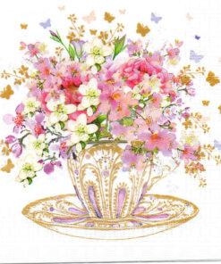 Servetel - Tea Cup Blossoms - 33x33 cm