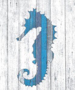 Servetel - Whitewash Seahorse - 33x33 cm