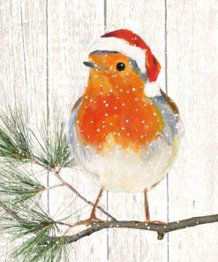Servetel - Robin on Xmas Tree - 33x33 cm