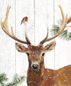 Servetel decoupage - Robin & Deer - 33x33 cm