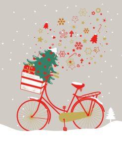 Servetel Christmas bike - 33x33 cm