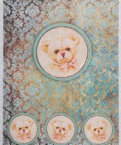 Hârtie de orez - portret de ursuleț - A4