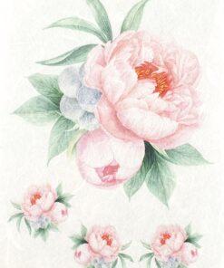 Hârtie de orez - 3 mini roses pink