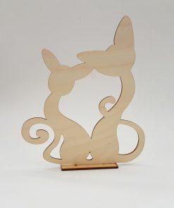 pisici indragostite - din lemn pe stand.