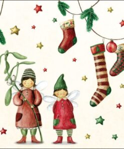 Servetel - Christmas fairies - 33x33 cm