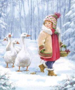 Servetel - Emmy feeding geese - 33x33 cm