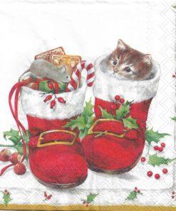 Servetel christmas boots - 25x25 cm