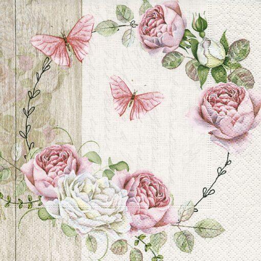 Șervețel - Roundel of roses - 33x33 cm