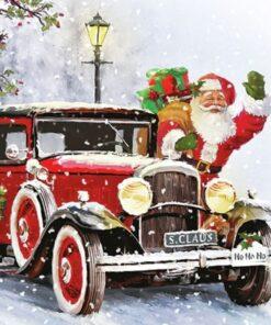 Șervețel - Santa Automobile - 33x33 cm