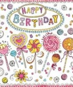 Servetel - Happy Birthday Lollipops - 33x33 cm