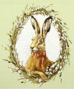 Șervețel - Bunny Portrait Green - 33x33 cm