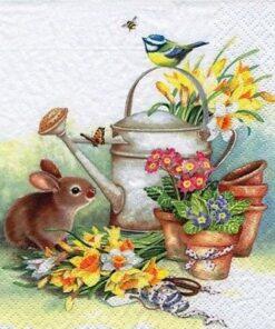 Șervețel - Bunny with Watering Can - 33x33 cm