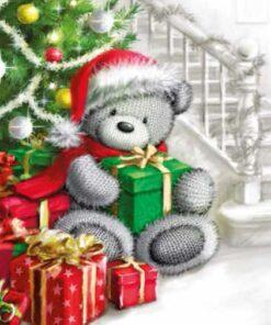 Șervețel - Christmas bear with gift - 33x33 cm