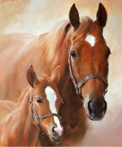 Șervețel - Horse With Foal - 33×33 cm