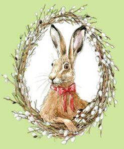 Servetel - Bunny Portrait Green 33x33 cm