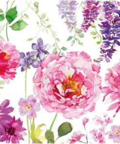 Servetel - Pink Roses White - 33x33 cm